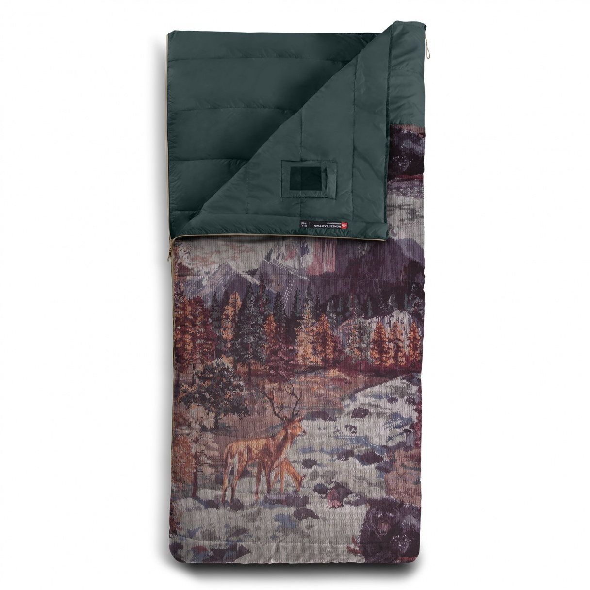 the-north-face-homestead-twin-40f-sleeping-bag-darkest-spruce-yosemite-sofa-print-darkest-spruce